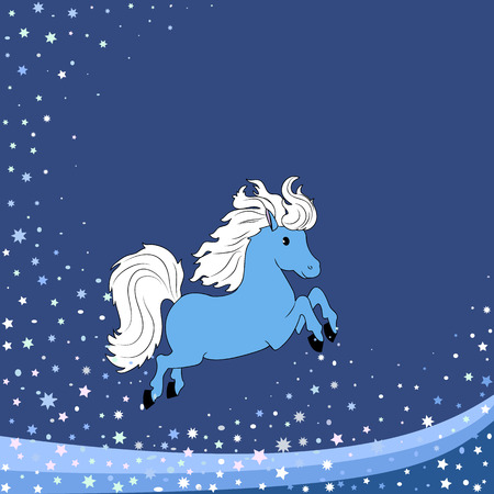 New year winter background with blue horse