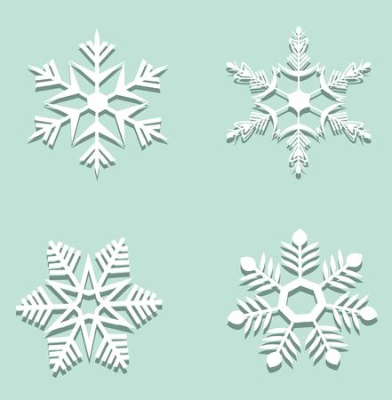 Christmas set of paper snowflakes