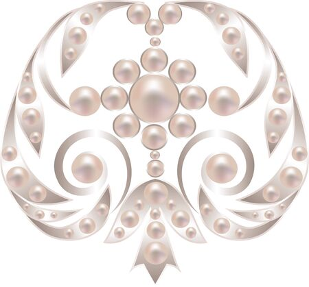 Silver brooch with pearls isolated on white