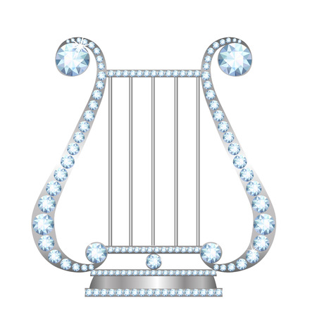 lyre: Silver lira with diamonds isolated on white