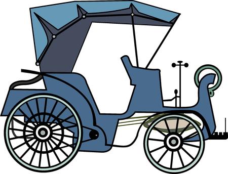 Vintage car isolated on white Illustration