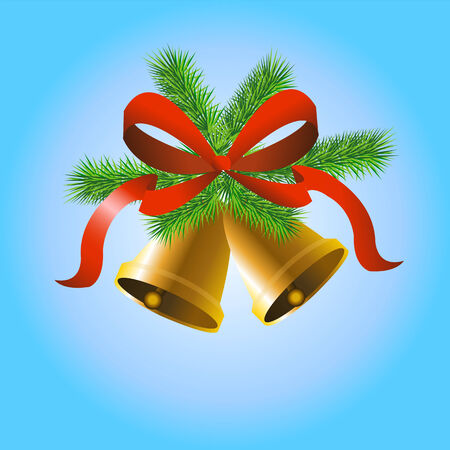 Christmas gold bells with tree, bow and tree on blue background Illustration