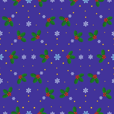Seamless Christmas background with holly berries and snowflakes Illustration