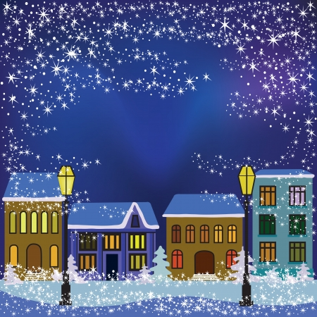 Vector illustration of Christmas night in winter town