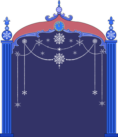 Vector illustration of Christmas frame with snowflakes Illustration