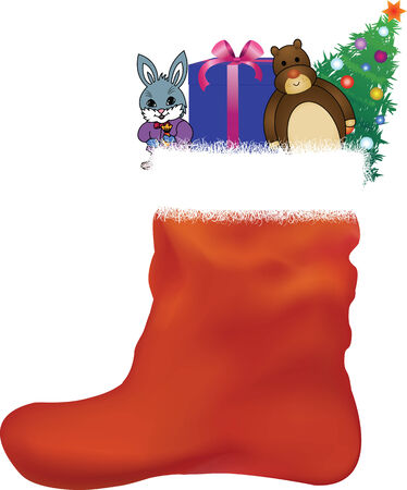 Christmas red stocking with gifts and toys