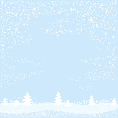 Christmas winter background with trees and snowflakes