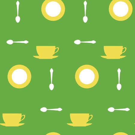 Seamless green background with yellow cups and tea spoons Illustration