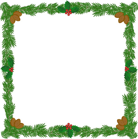 pine boughs: Christmas wreath frame with pine cones and holly berries