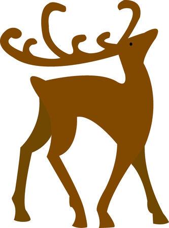 Vector illustration of brown christmas simple deer