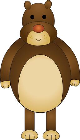 Vector illustration of cartoon brown funny bear. Illustration