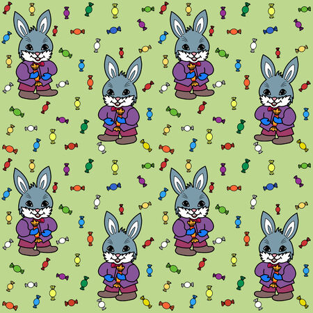 Seamless green background with bunny and candies