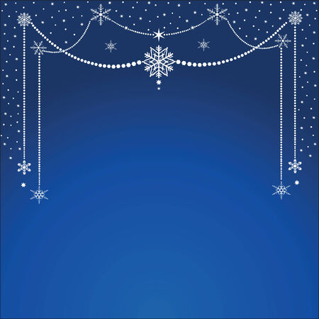 Christmas card with hanging snowflakes on dark blue background