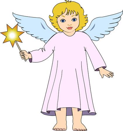 Christmas angel with star. Vector illustration, clip art Illustration