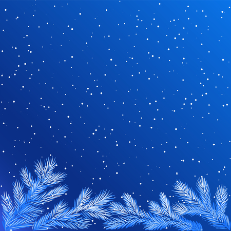 Christmas winter background with frozen tree branches at night