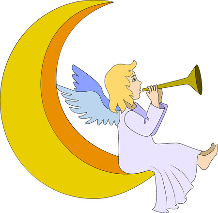 Christmas fairy angel with flute on moon Vector