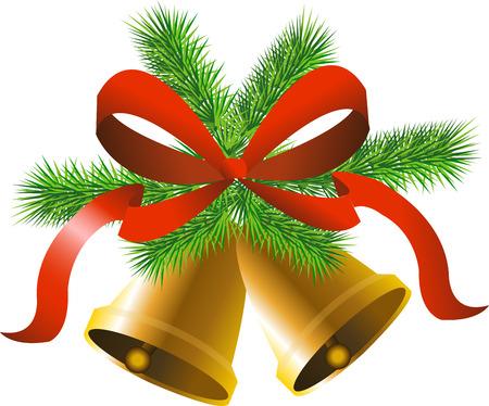 campanas de navidad: Campanas de oro de la Navidad con el árbol, el arco y el árbol