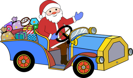 Santa Claus and retro car with gifts