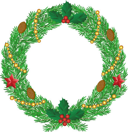 Christmas wreath with cones, stars and holly berry Illustration