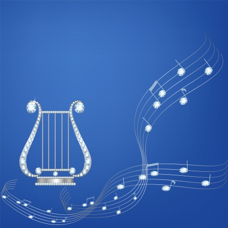Silver lira with diamond music notes on blue background Vector