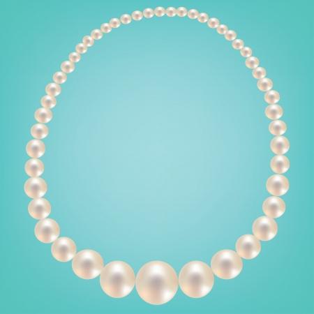 背景色が水色の真珠のネックレス。ベクトル図