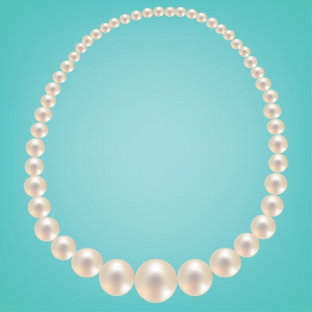 Pearl necklace on turquoise background. Vector illustration