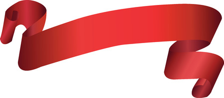 Red ribbon isolated on white. Vector illustration
