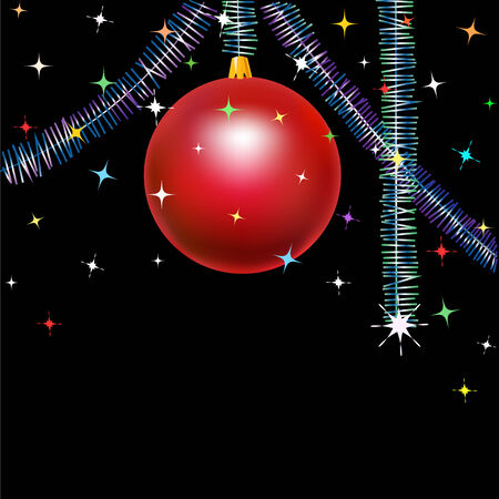 Christmas red bauble with garland on black background