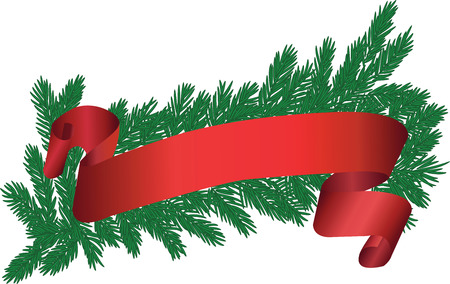 Christmas tree brunch with red ribbon. Vector illustration