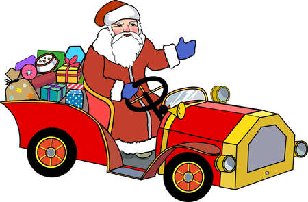 Santa Claus and retro car with christmas gifts
