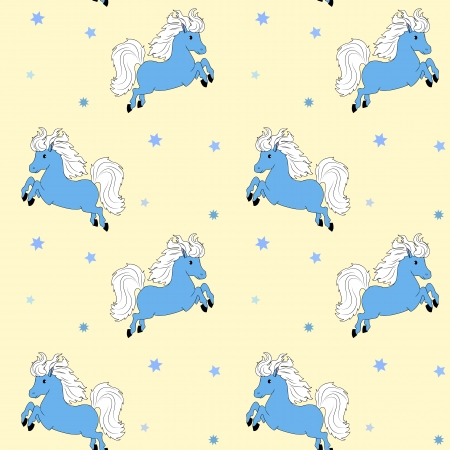 Seamless yellow background with little blue horse Vector