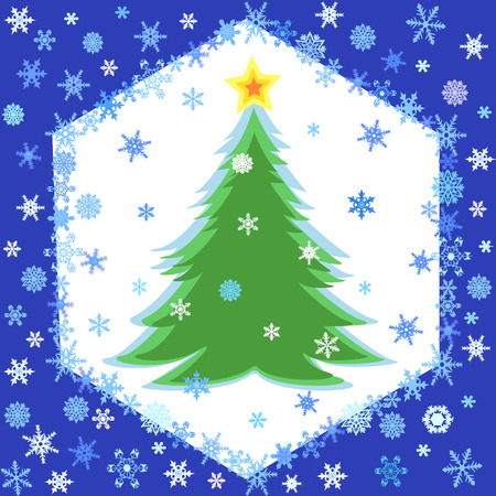 Blue background with snowflakes frame and christmas tree