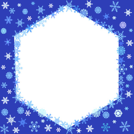 Christmas blue background with snowflakes frame. Vector illustration Illustration