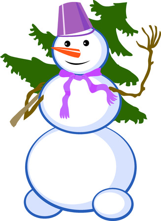 Snowman with christmas tree. Vector illustration. Clip art Vector
