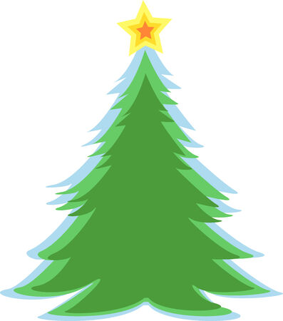 Simple green Christmas fir tree. Vector illustration Illustration