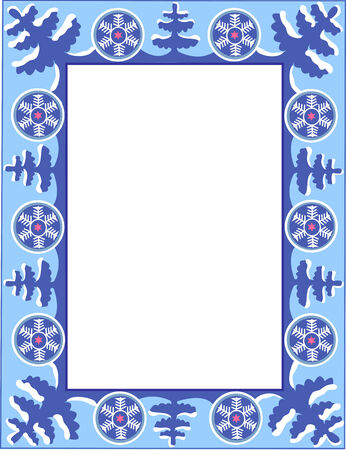 Christmas blue frame with trees and snowflakes