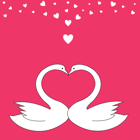 Valentine swans in the shape of heart Illustration