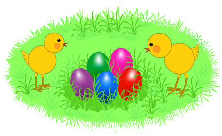two cartoon easter chickens with eggs on grass Illustration