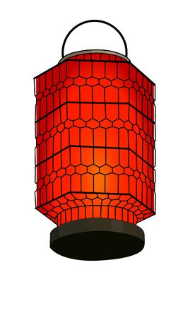 Red chinese lantern isolated on white. Vector illustration