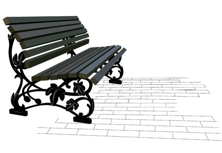 Forged ply wooden outdoor bench and pavers