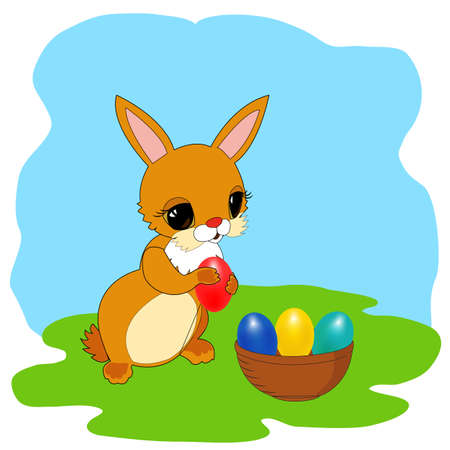 Easter bunny with eggs in basket on grass