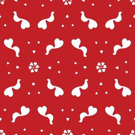 Seamless valentine background with birds