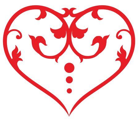 Beautiful floral pattern swirl heart. Vector illustration Stock Photo