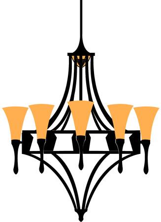 Modern chandelier isolated on white. Vector illustration