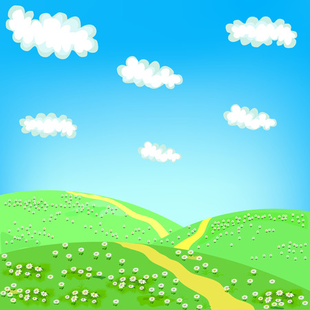 over the hill: Landscape with a footpath between green hills with flowers and blue sky with clouds Illustration