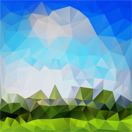clound: polygon geometric natural background with rural landscape