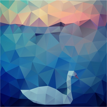 polygon geometric natural background with swan on lake