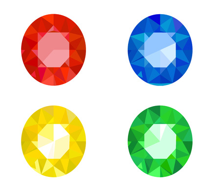 sapphire: Set of jewels of ruby, sapphire, topaz and emerald Illustration