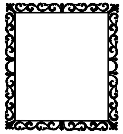 black frame with florid ornamentation Çizim