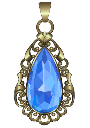 Gold pendant with ornate pattern and sapphire Illustration